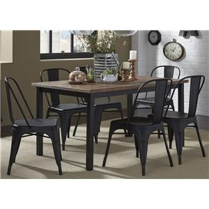 7-Piece Rectangular Leg Table and Bow Back Chair Set