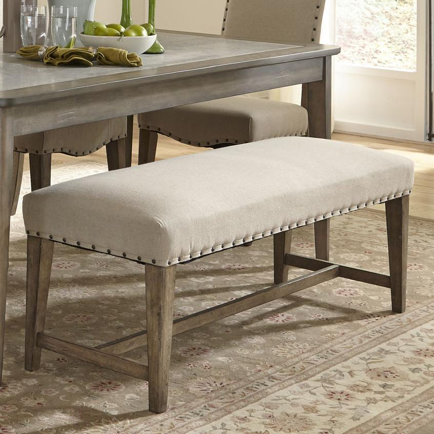Rustic Casual Upholstered Bench With Nail Head Trim By