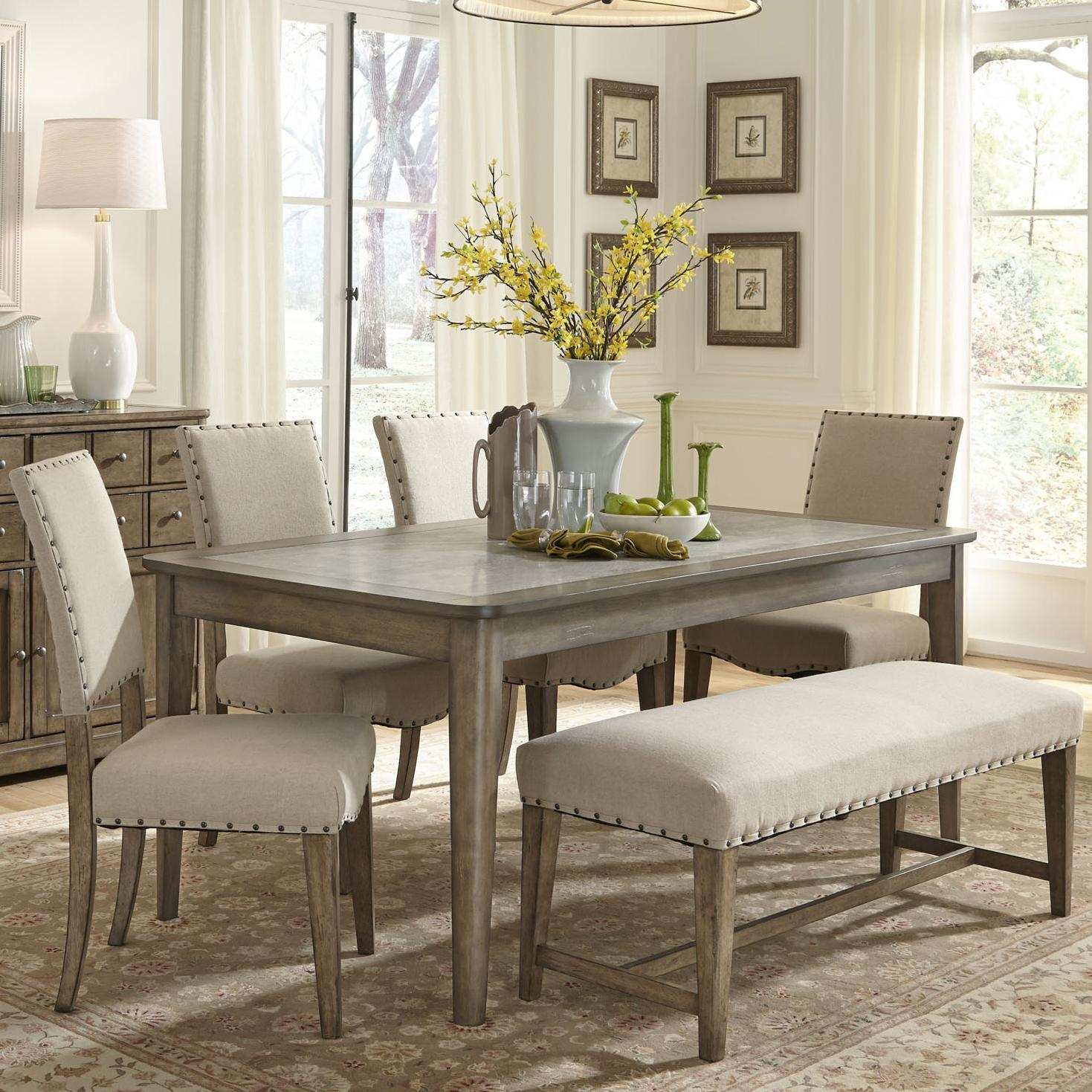 Rustic casual 6 piece dining table and chairs set with for Dinette sets with bench seating