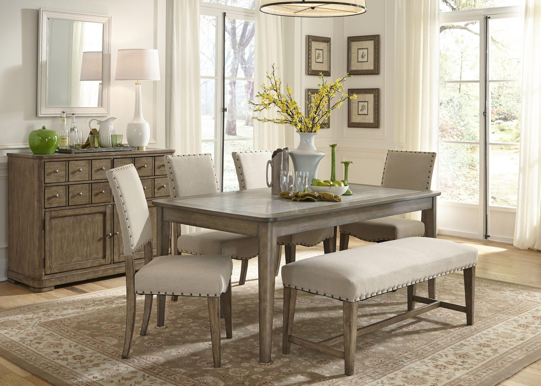 Rustic Dining Room Tables With Bench rustic casual 6 piece dining table and chairs set with bench