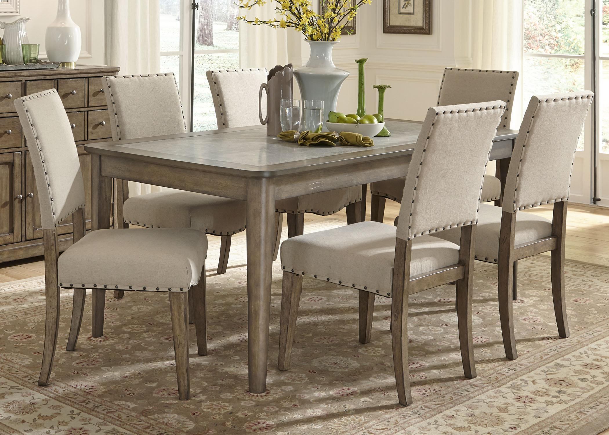 Casual Rustic 7 Piece Dining Table and Chairs Set : rectangular dining table sets - pezcame.com