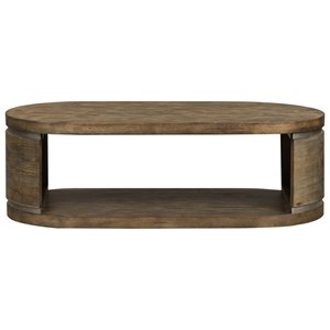 Contemporary Oval Cocktail Table with Metal Finished Accent Strips