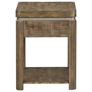 Contemporary Chair Side Table with Metal Finished Accent Strip