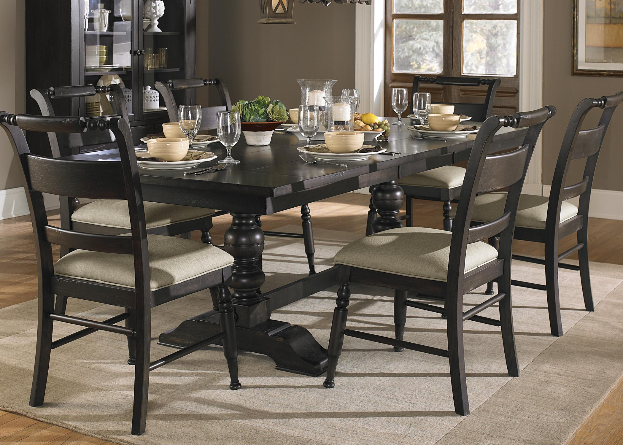 7 piece trestle dining room table set by liberty furniture for Black dining room set