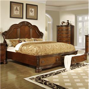 Lifestyle 5390A Queen Size Panel Bed with Storage