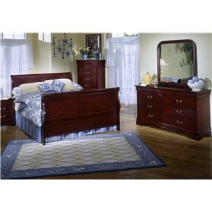 Lifestyle 5933A Cherry Sleigh Queen Bedroom