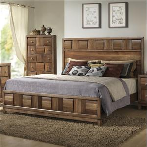 Lifestyle Walnut Parquet Queen Bed