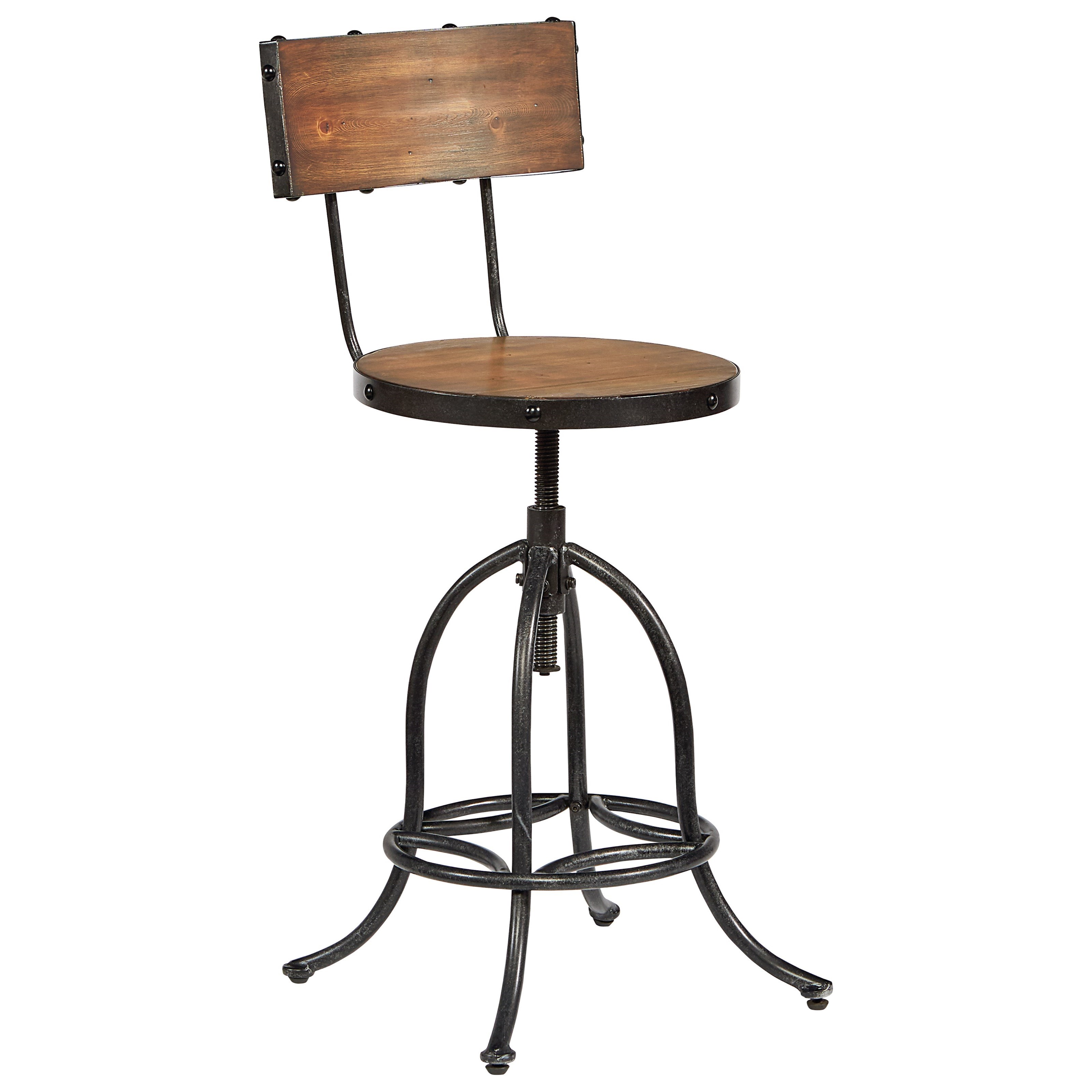 Architect Stool with Bronze Legs and Wooden Seat