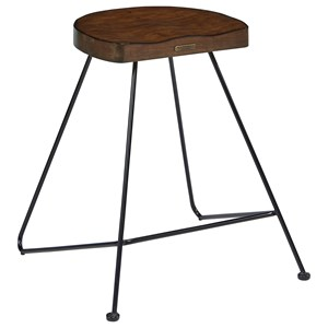 Stool with Metal Frame and Wood Seat