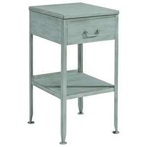 Small Metal End Table with Drawer and Storage Shelf