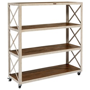 Large Industrial Bookcase with Casters