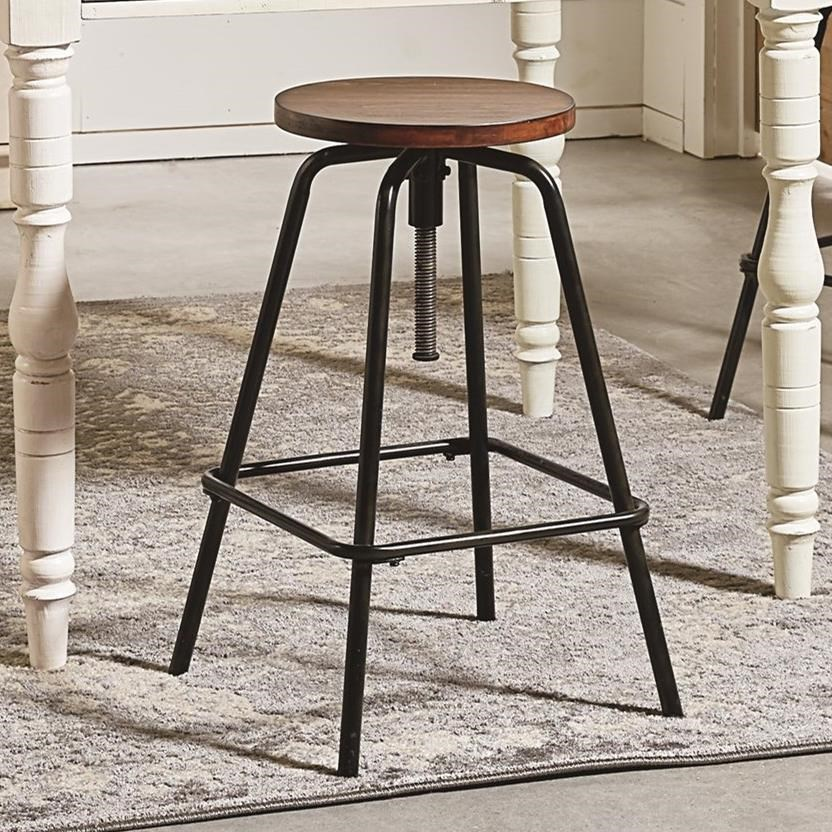 Round Stool with Metal Base and Milk Crate Finished Seat
