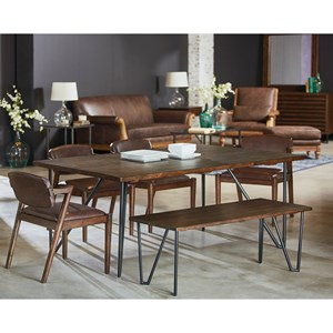 6 Piece Table and Chair Set with Bench and Metal Hairpin Legs