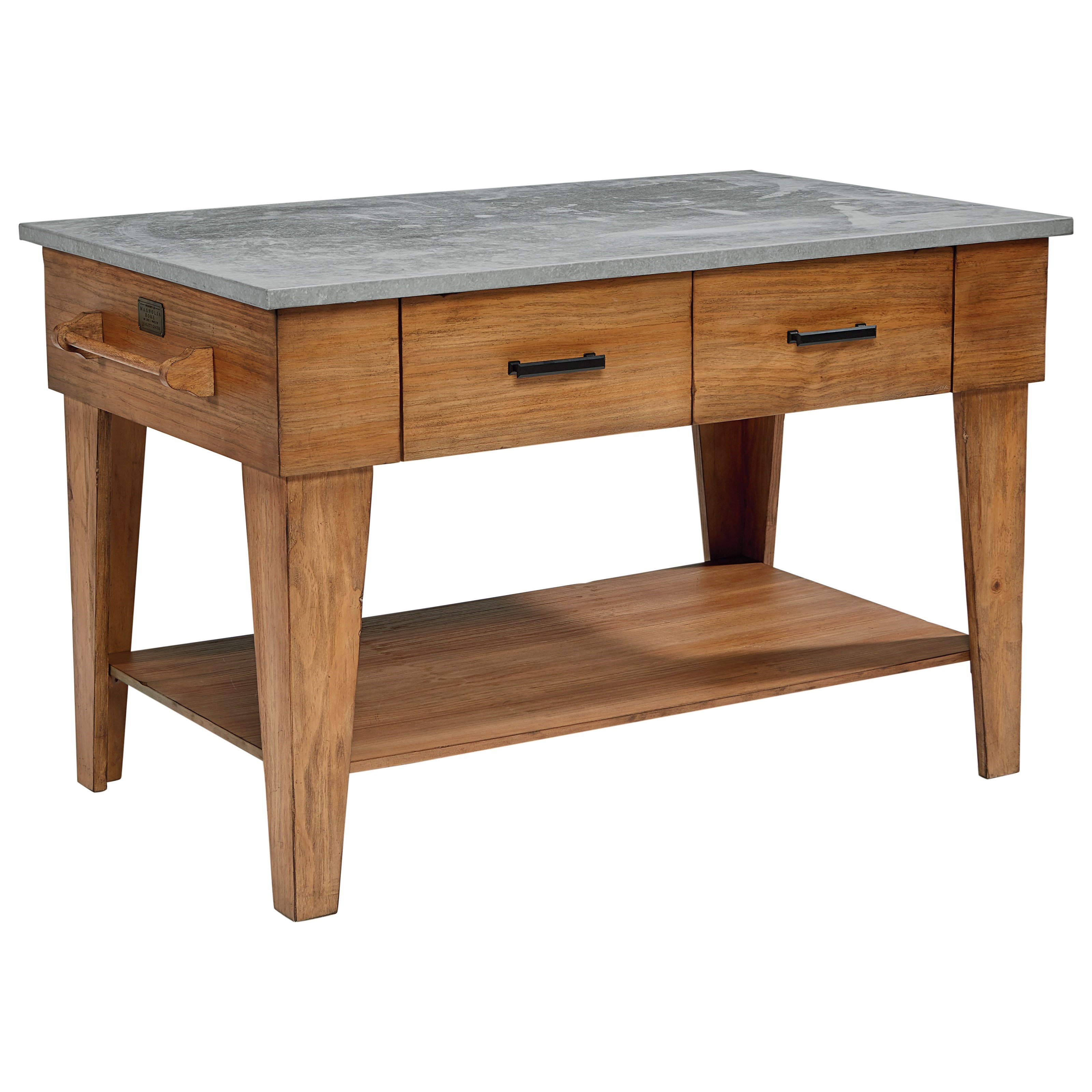 Kitchen Island with 2 Drawers and an Open Shelf
