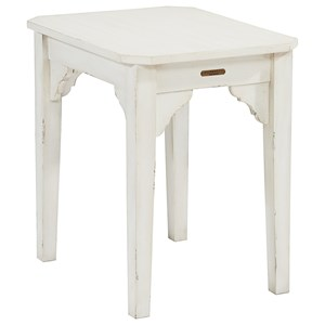 End Table with Cut-Out Corner Brackets and Clipped Top Corners