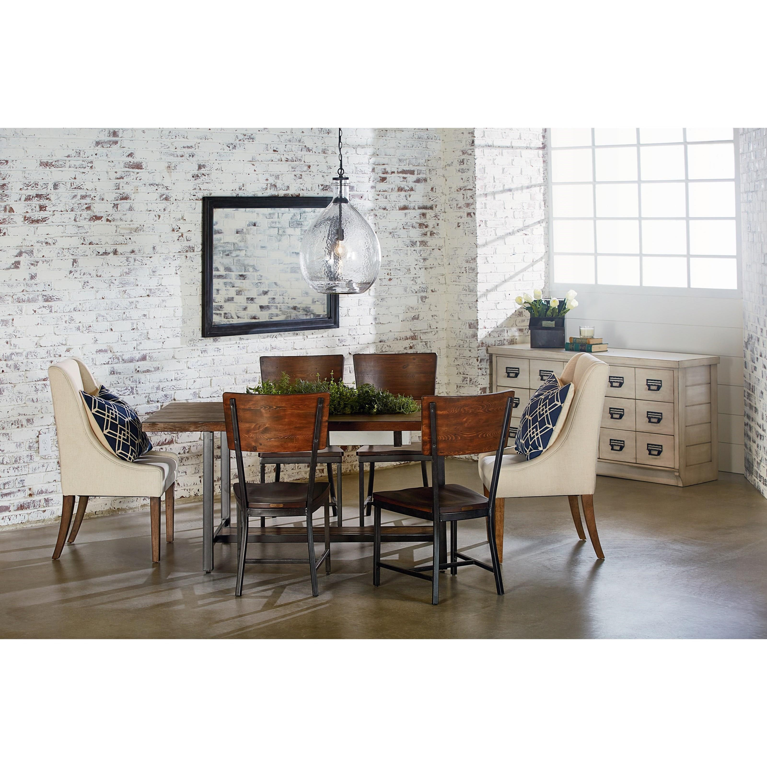 Zinc Finish Furniture Dining Table With Zinc Planter And Milk Crate Finish By Magnolia