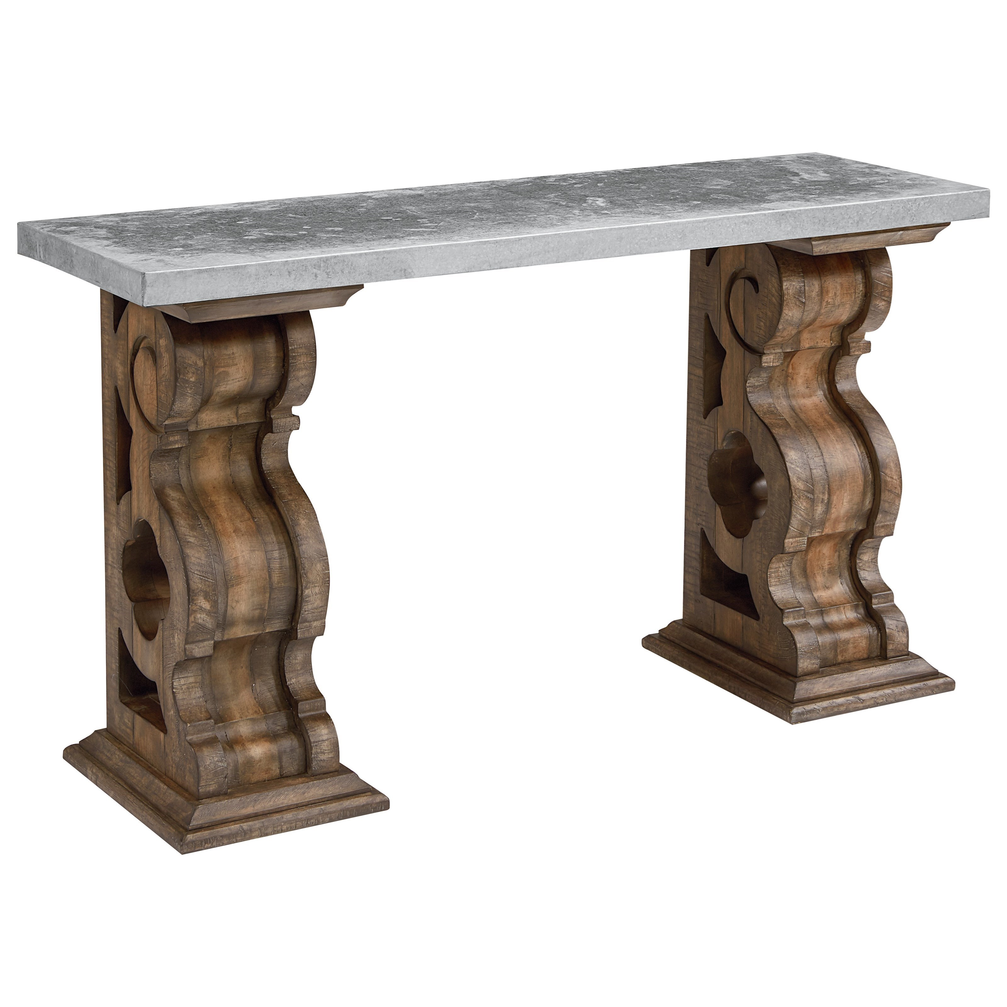 Hall table with zinc top and corbel bracket base by magnolia home hall table with zinc top and corbel bracket base geotapseo Gallery