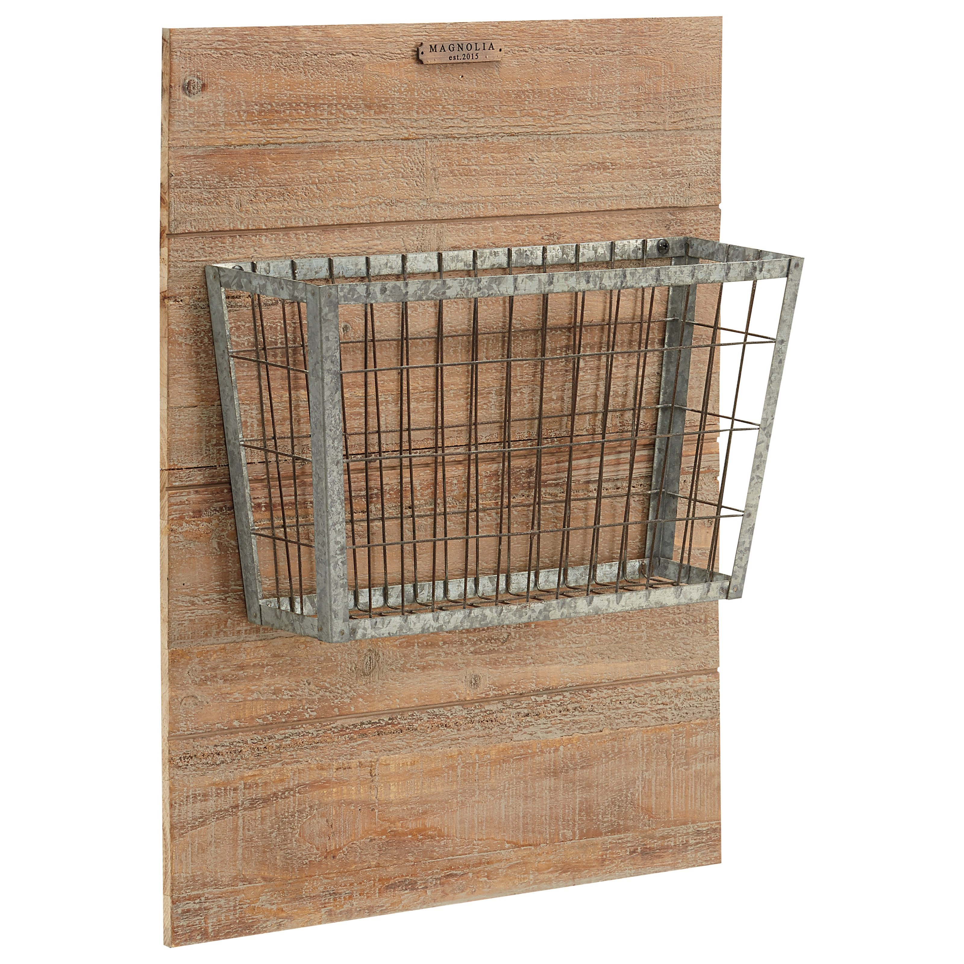 Metal Basket On Wood Mount