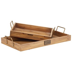 Rectangular Tray with Metal Handle