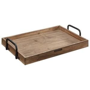 Rectangular Wood Tray with Metal Handle
