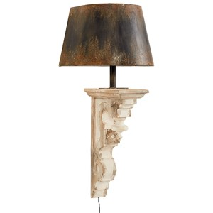 Wood Corbel Sconce with Metal Shade