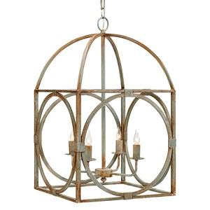 Rust Colored Metal Birdcage Chandelier