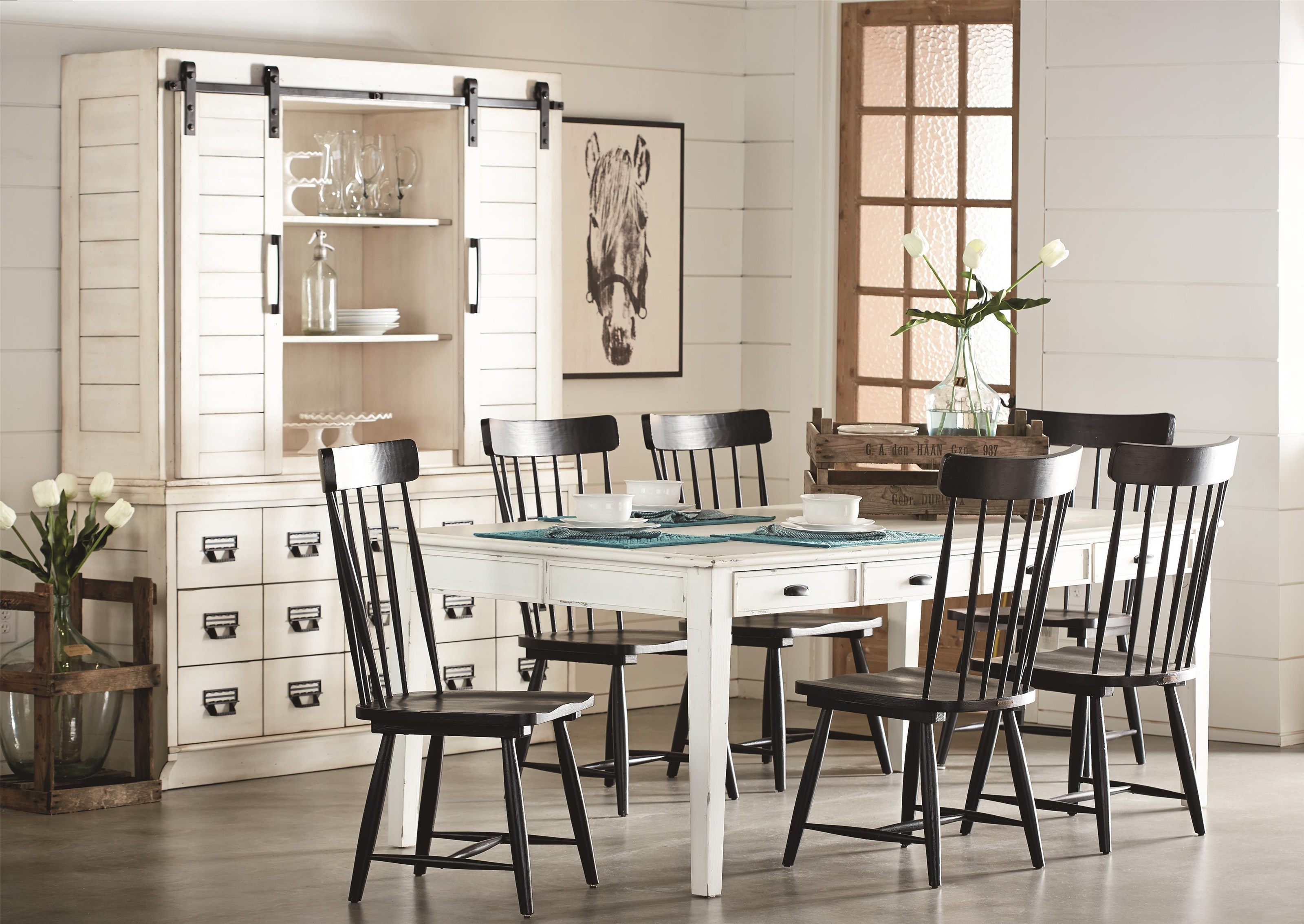 5 Pc Table And 4 Black Spindle Side Chairs By Magnolia
