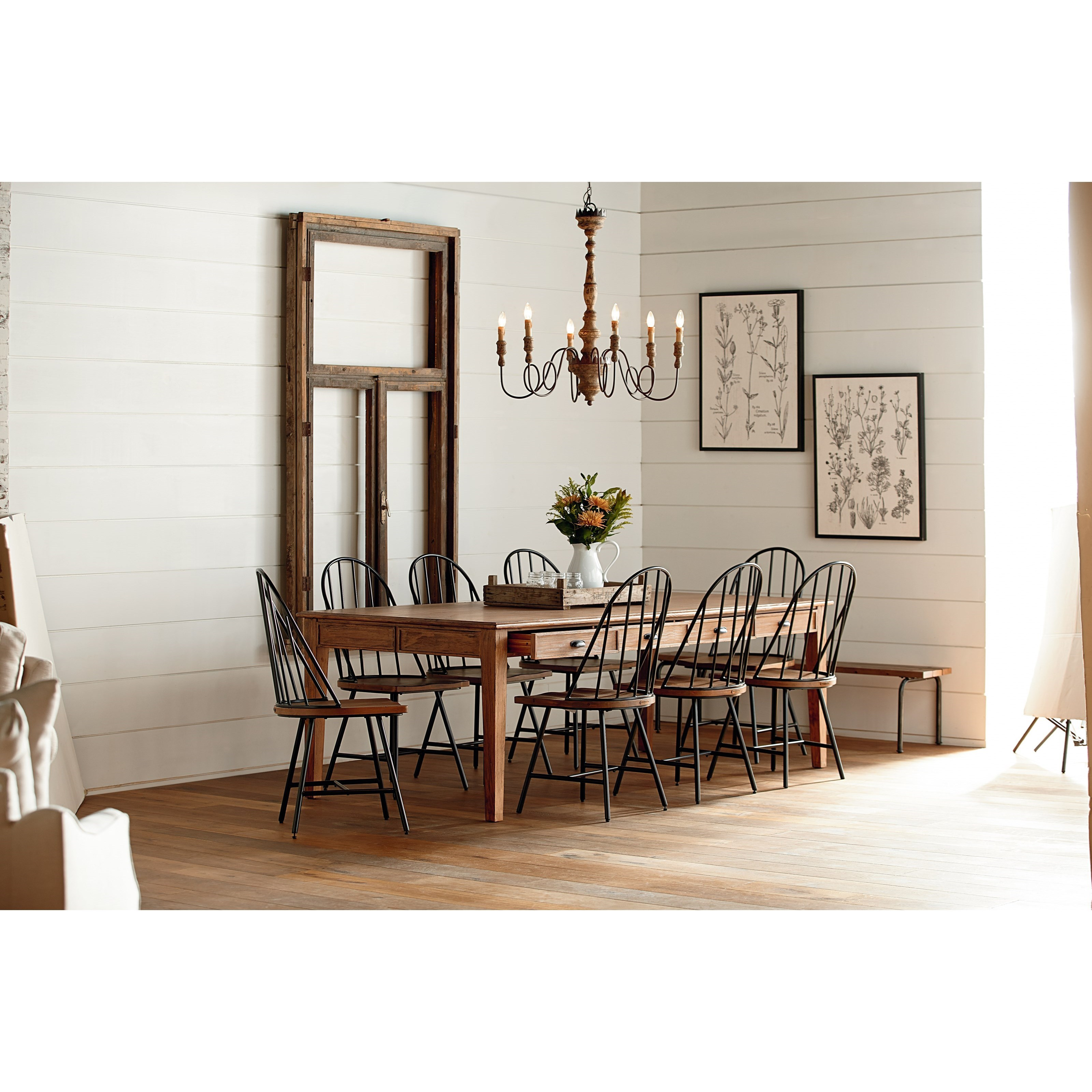 10 Piece Dining Set with Hoop Windsor Chairs, Bench, and Storage ...