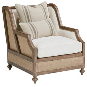 Foundation Upholstered Chair with Two Accent Pillows