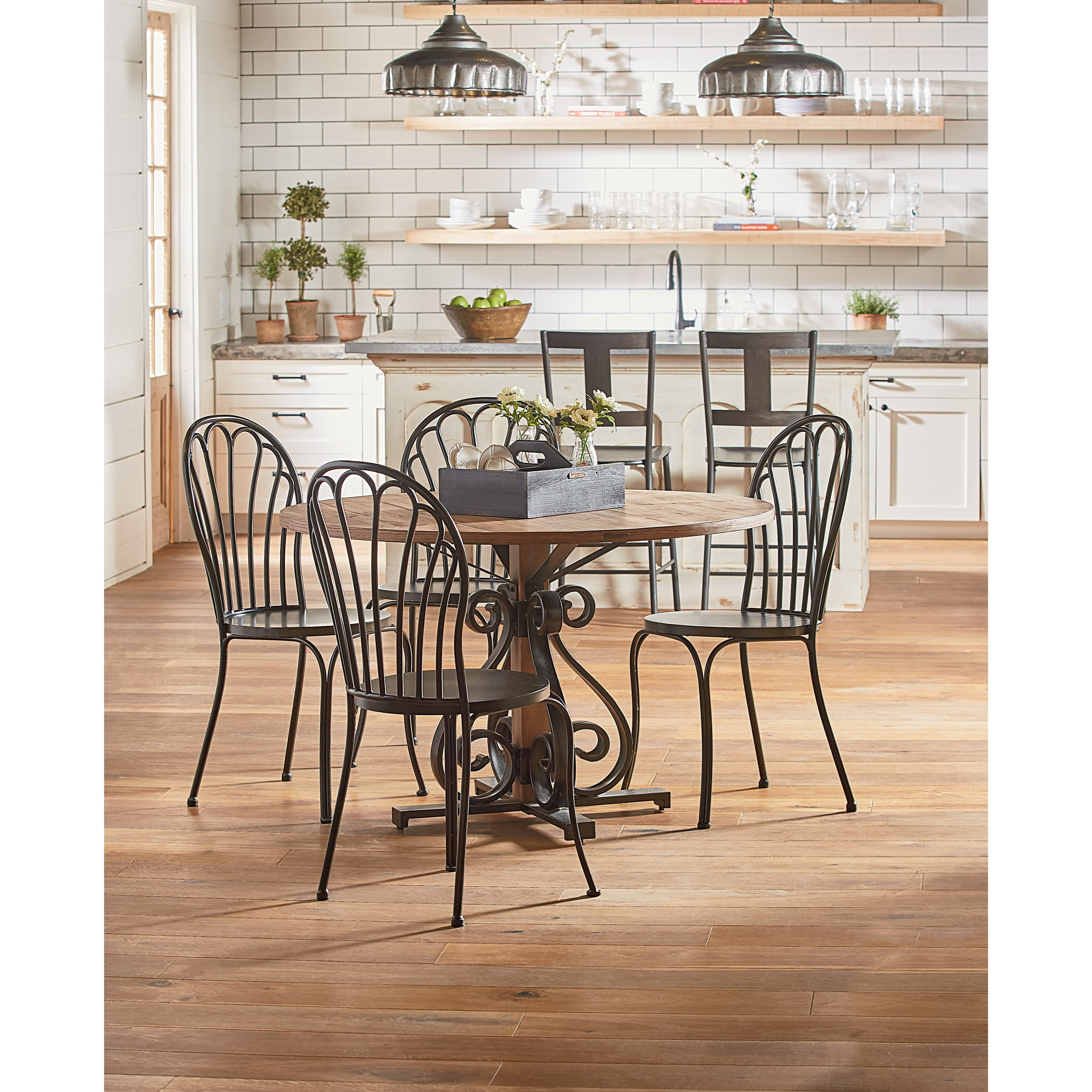 Round Dining Table With Scroll Pedestal By Magnolia Home Joanna