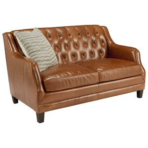 Leather Loveseat with Button Tufting