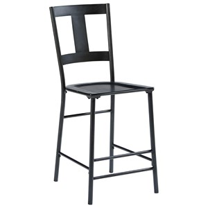 Metal And Wood Barstool with Carbon Finish