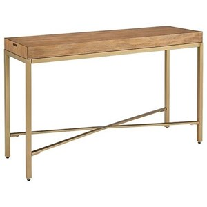 Console Table with Brushed Brass Base