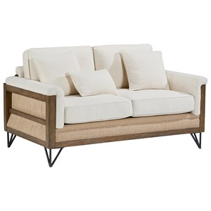 Paradigm Loveseat with Exposed Wood Frame