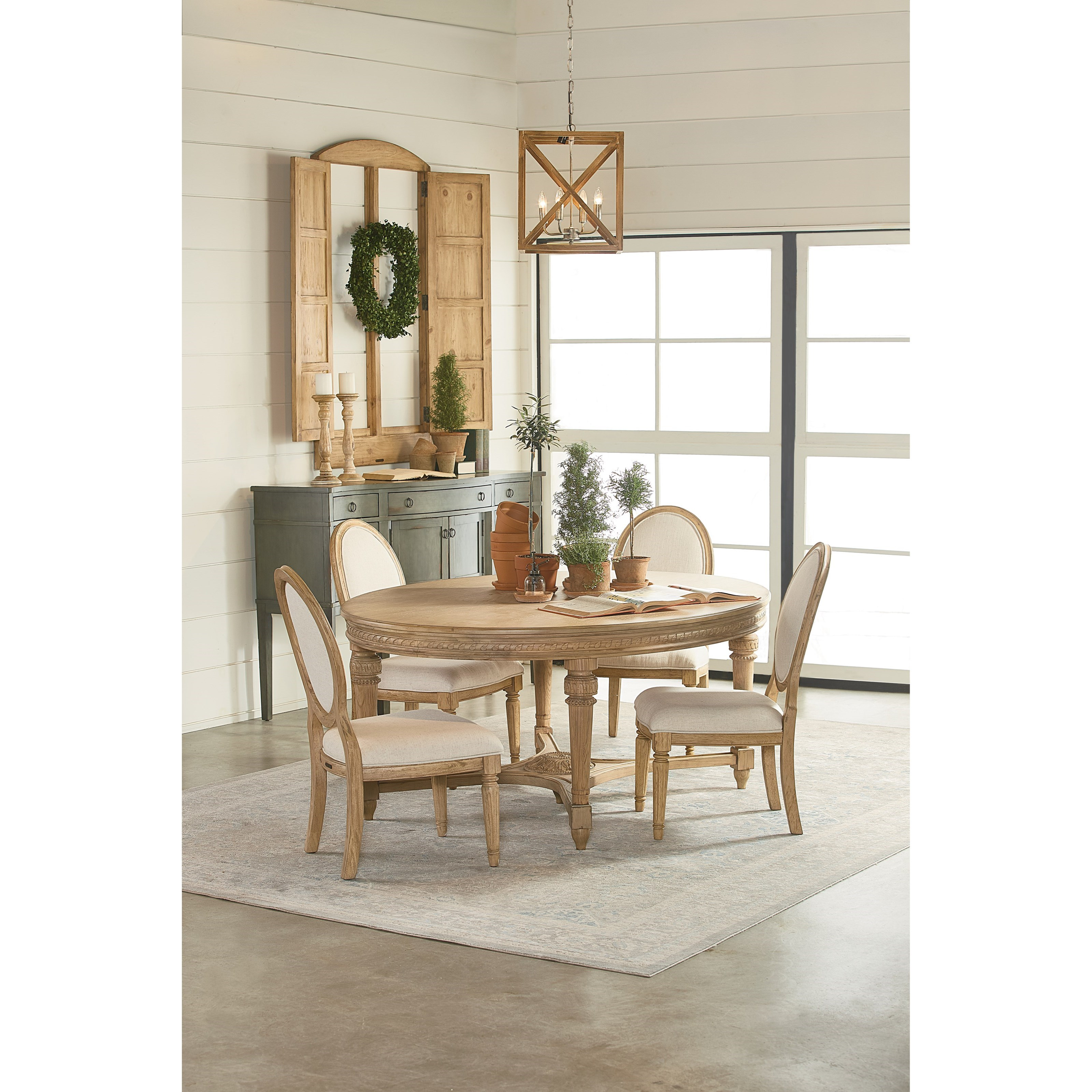 Oval Antique Dining Table With Wheat Finish By Magnolia Home
