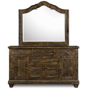 Magnussen Home  Brenley 6-Drawer Dresser & Mirror Combo