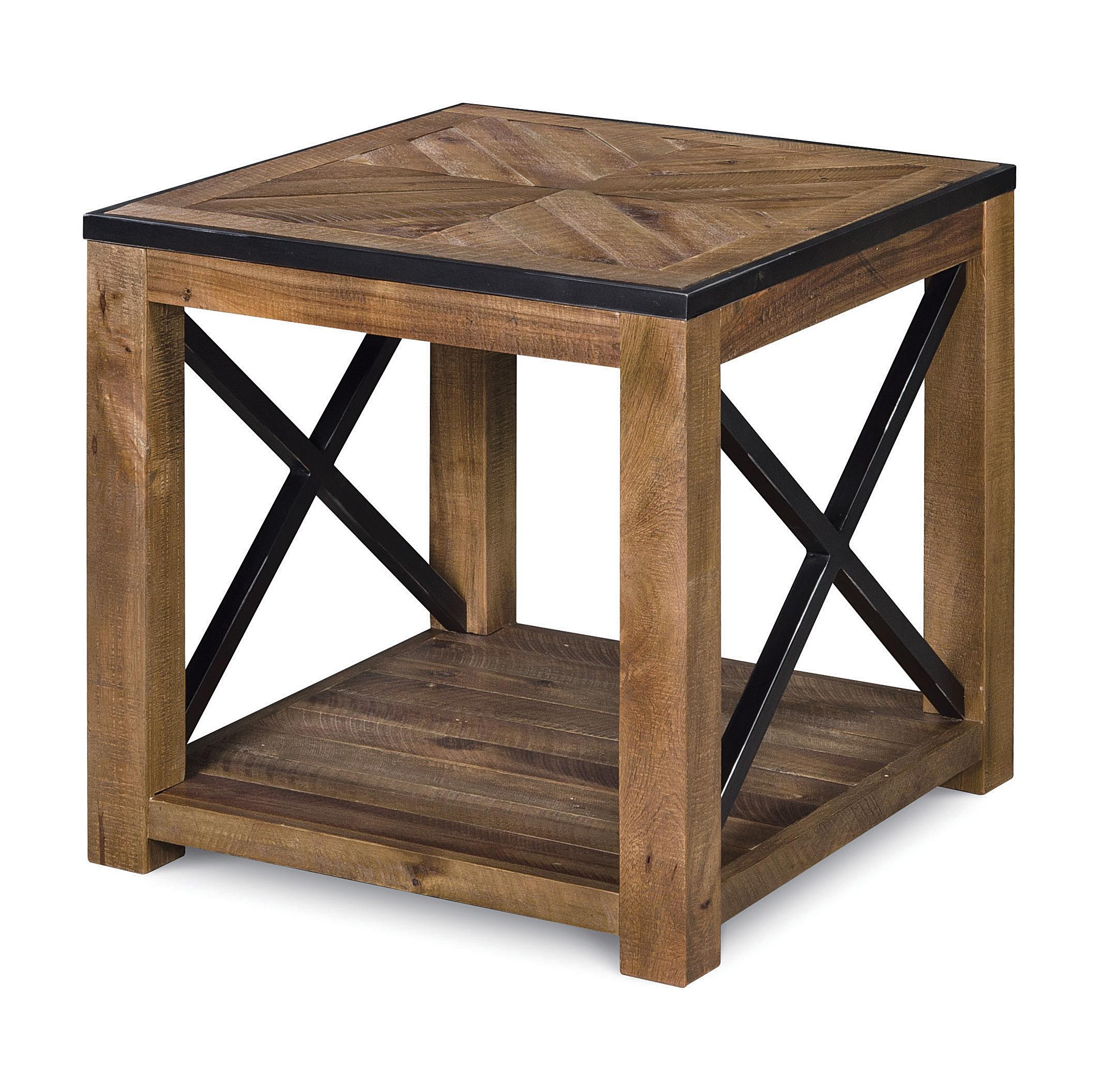 Rectangular End Table with One Shelf