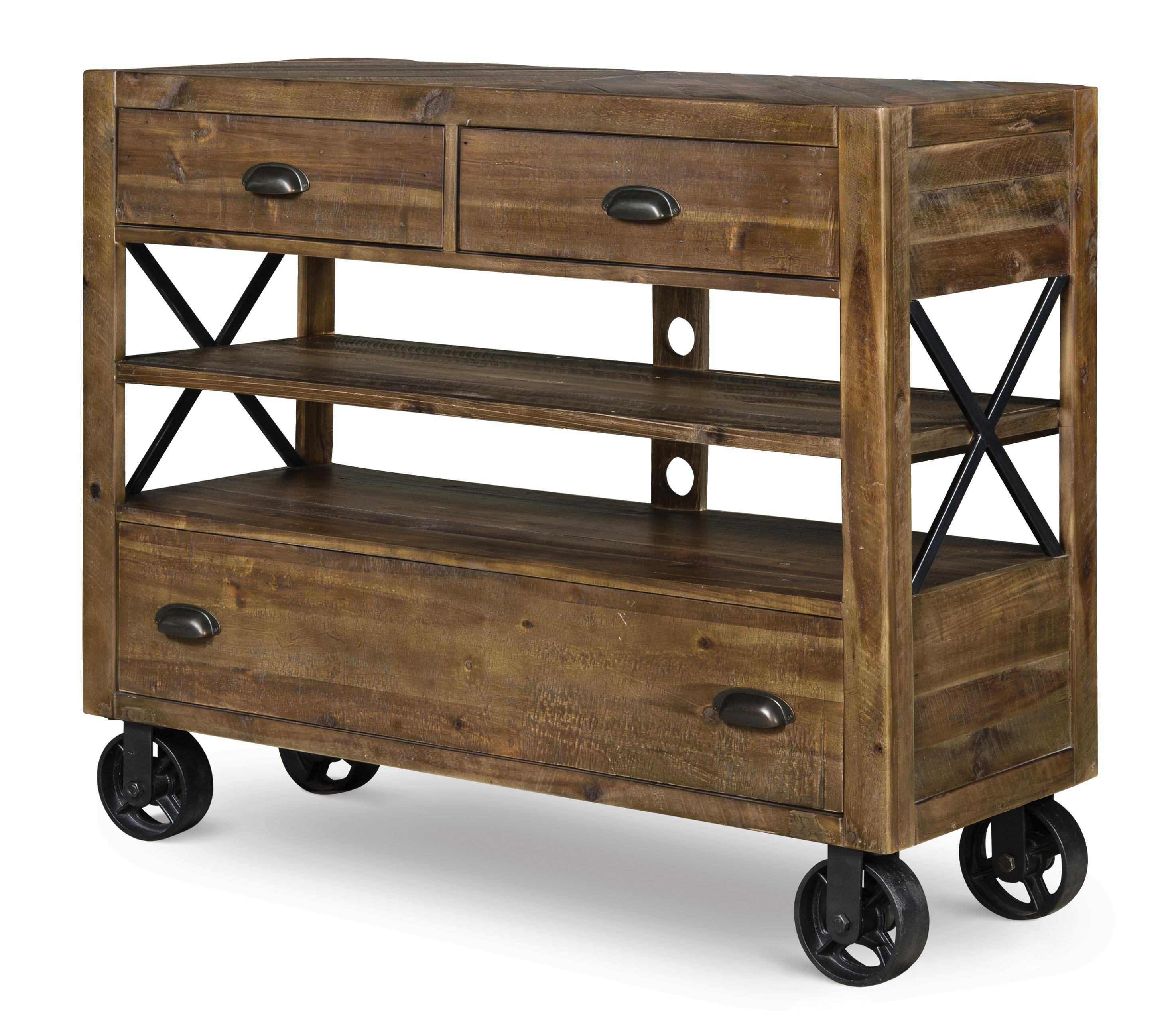 Industrial Media Chest with Dark Metal Casters and Open Storage by