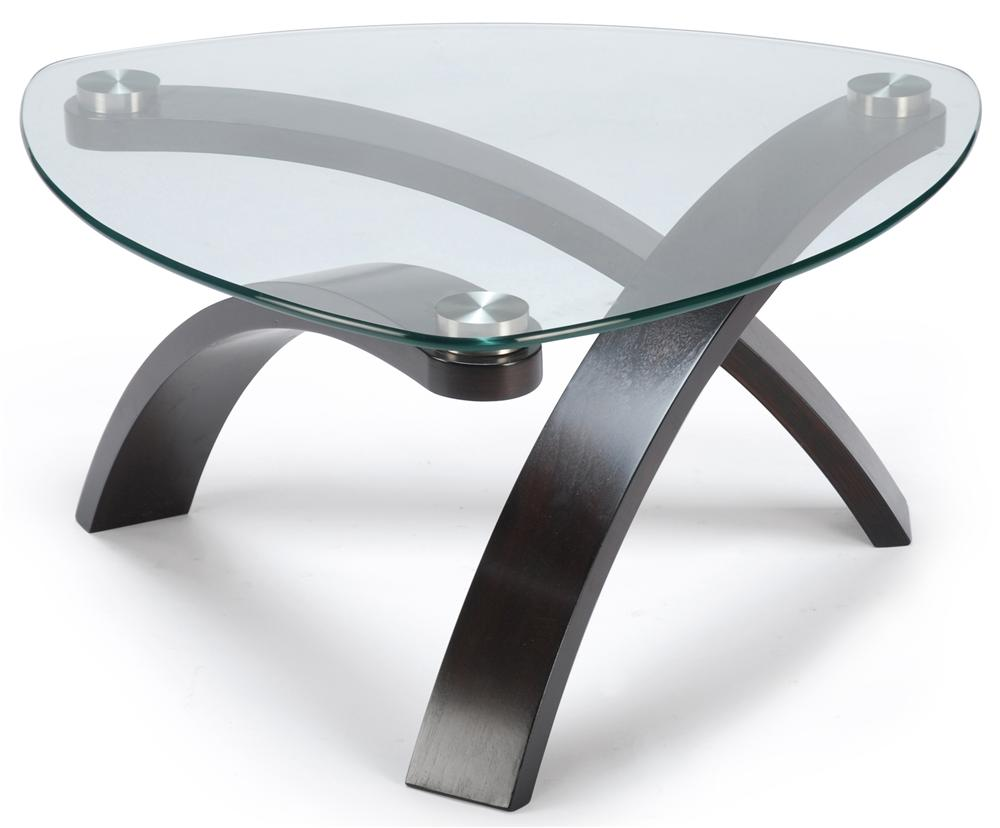 Cocktail Table With Glass Top and Bent Wood Legs