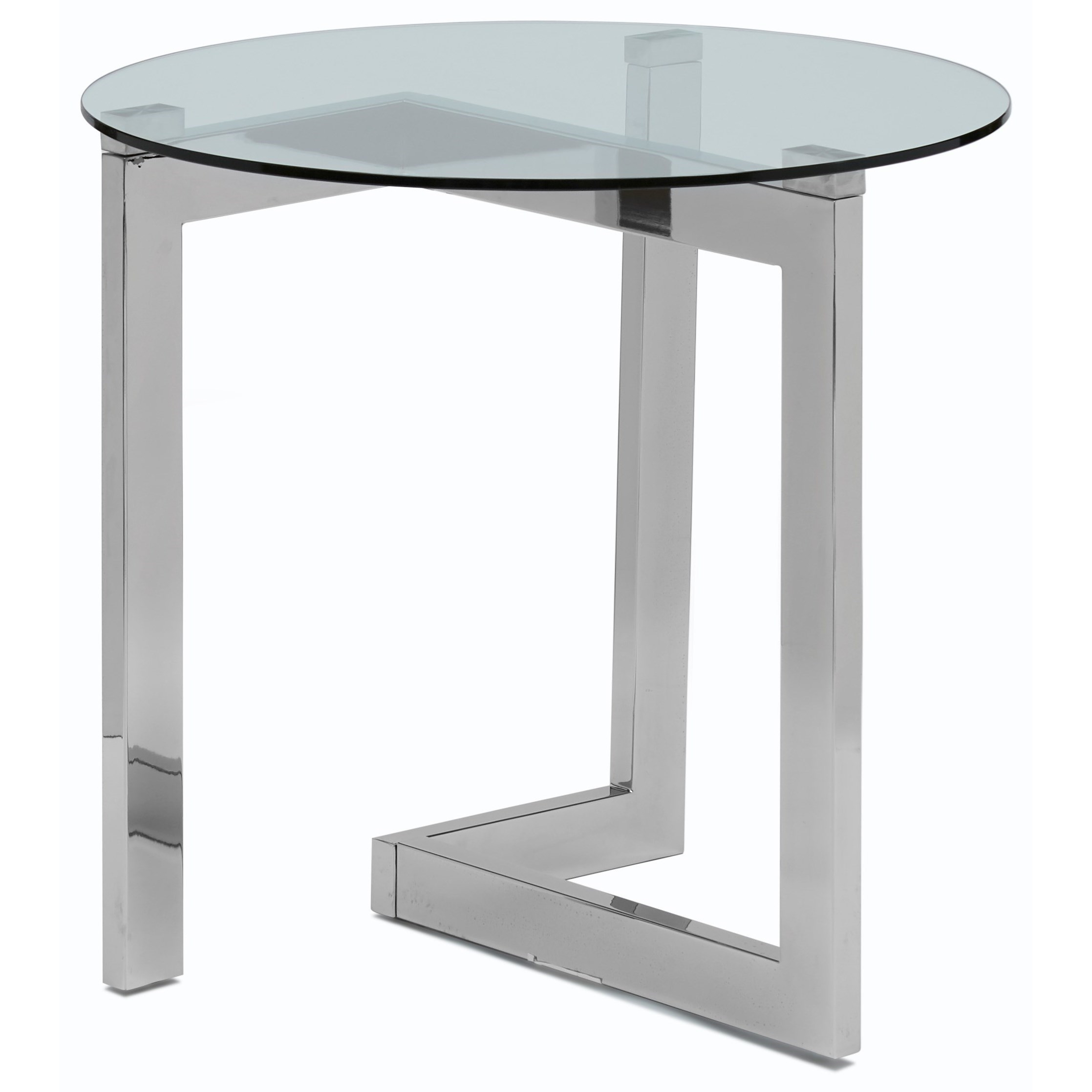 Contemporary Round End Table with Tempered Glass Top