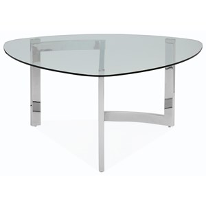 Contemporary Shaped Cocktail Table with Tempered Glass Top