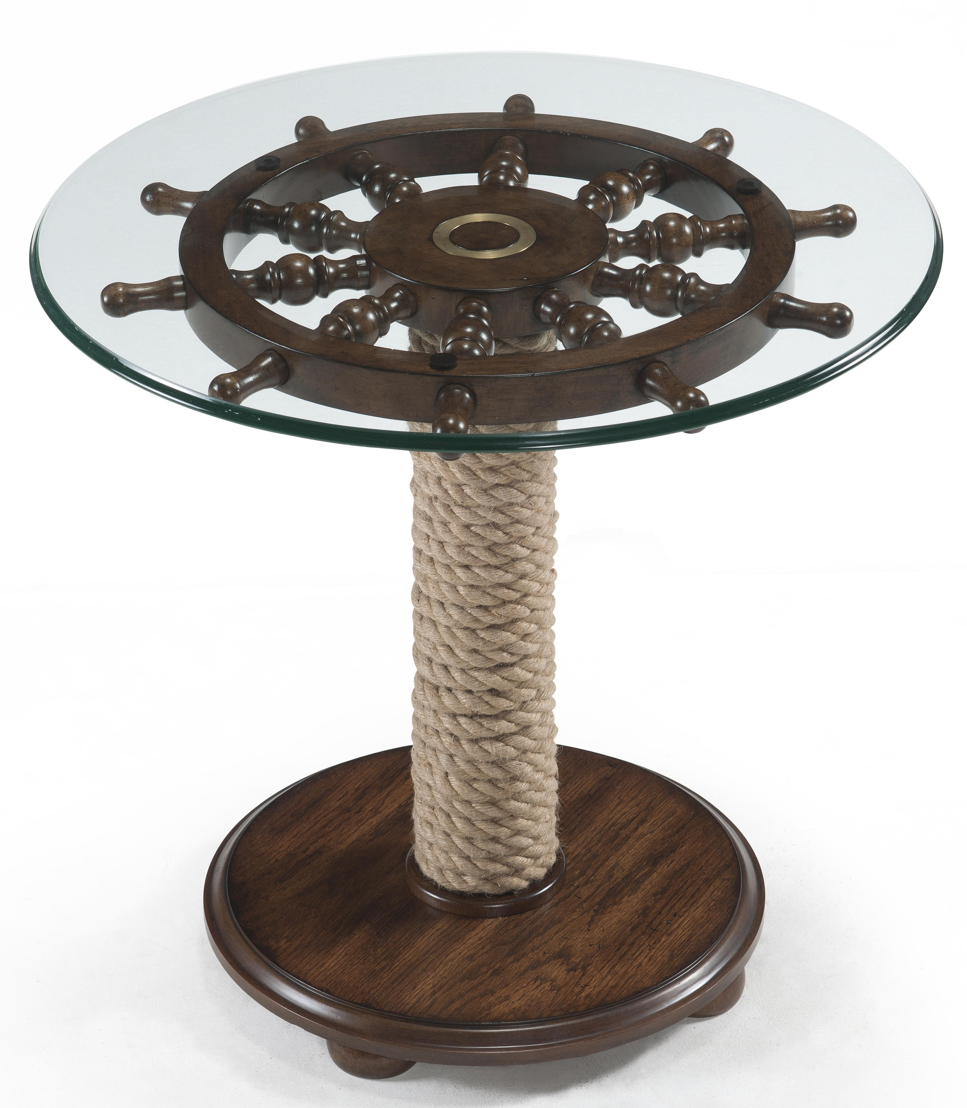 Round Accent Table with Tempered Glass Top Ship Wheel and Wound