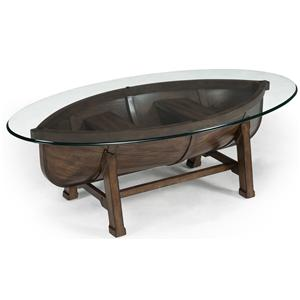 Boat Hull Cocktail Table with Trestle Base and Tempered Glass Top
