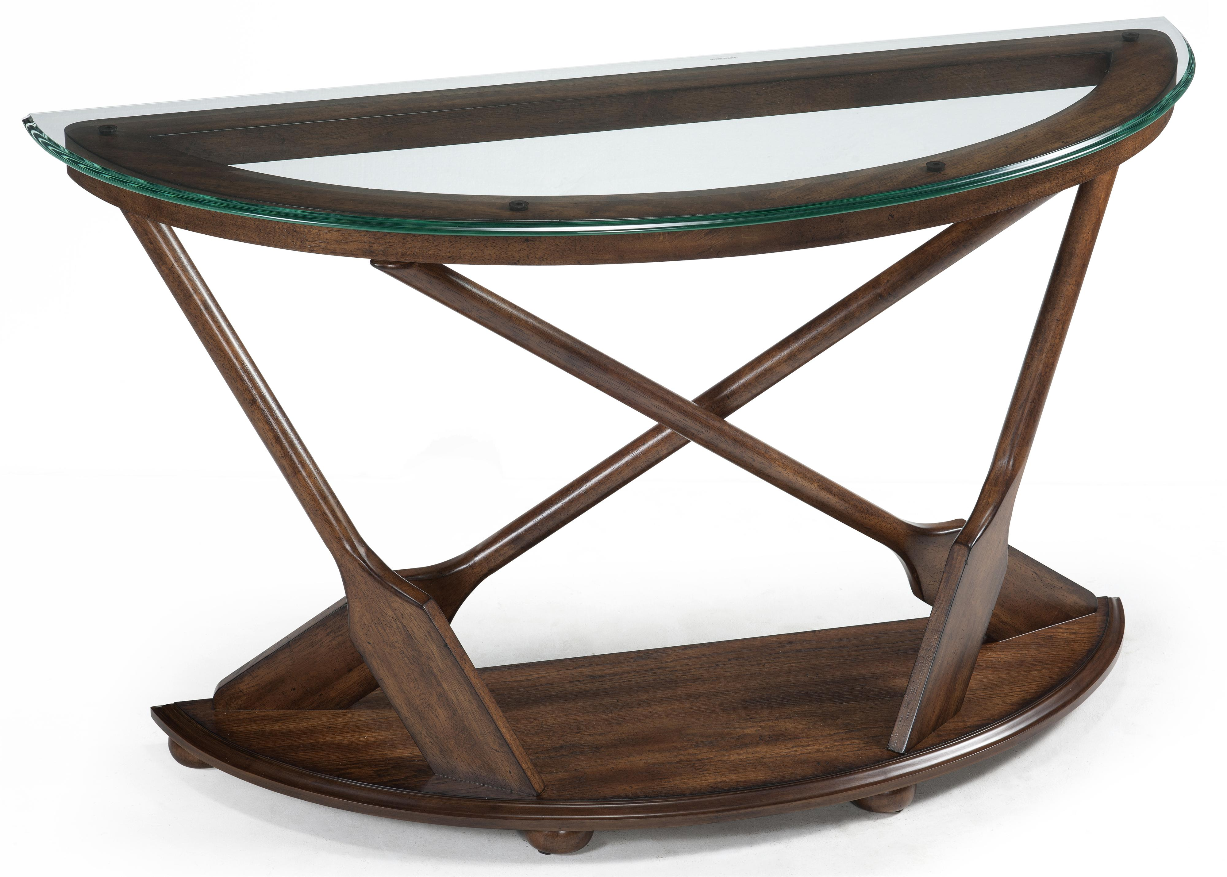 Demilune Sofa Table With Oar Motif Supports And Tempered Glass Top