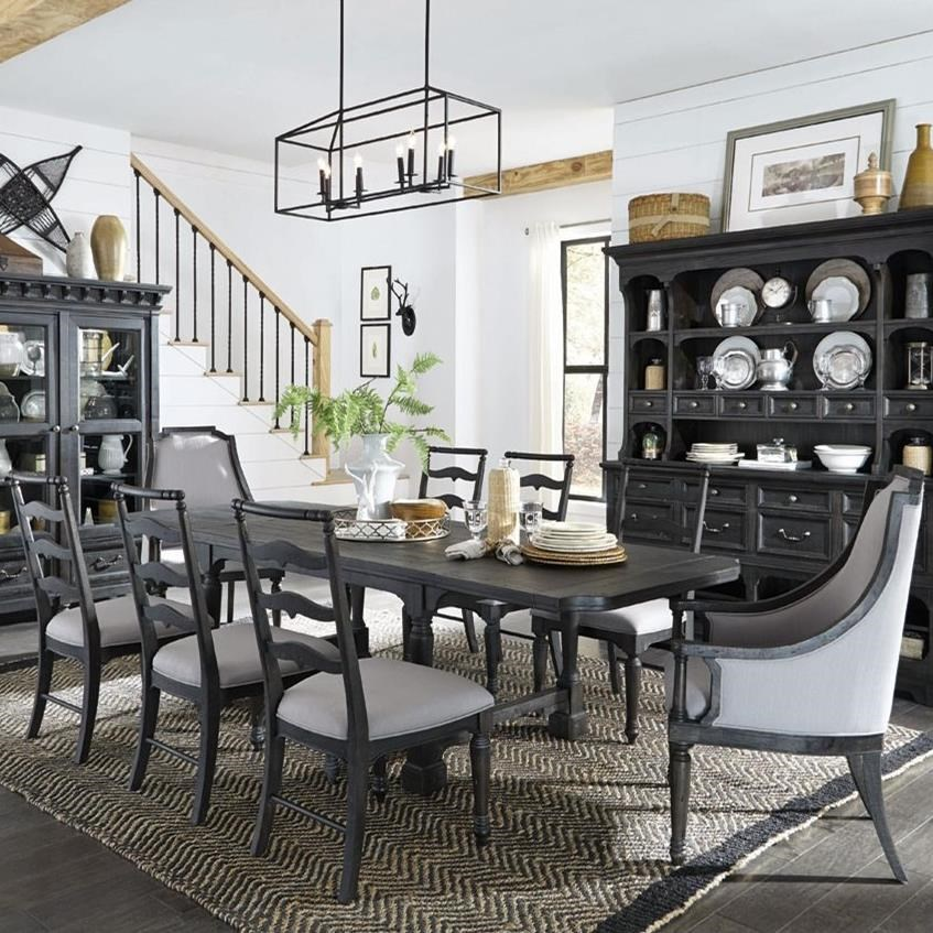 Table With 2 Breadboard Leaves, 6 Side Chairs,  And 2 Host Chairs