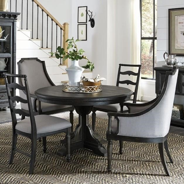 Round Single Pedestal Table, 2 Host Chairs, And 2 Side Chairs