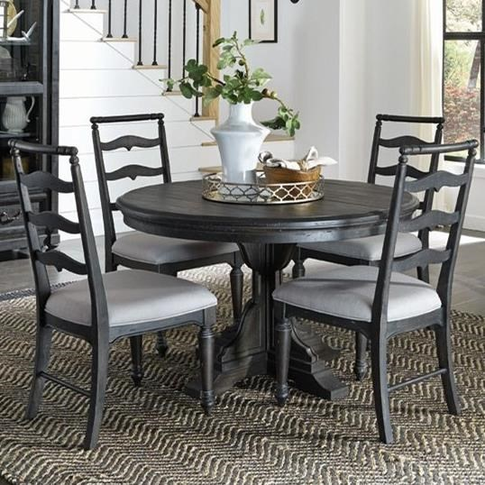 Single Pedestal Round Dining Table With 4 Side Chairs