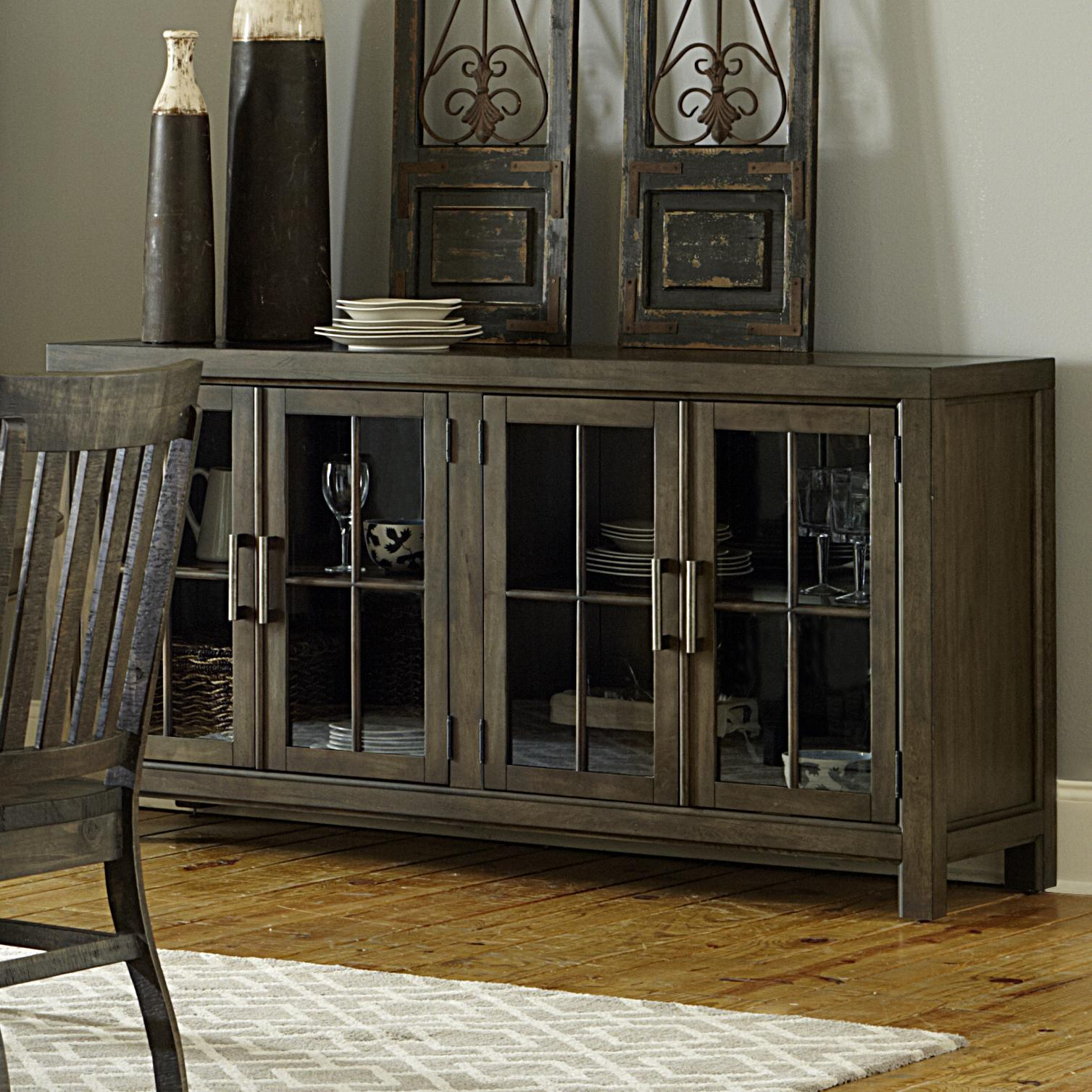 Transitional Buffet with Curio Doors and Touch Lighting