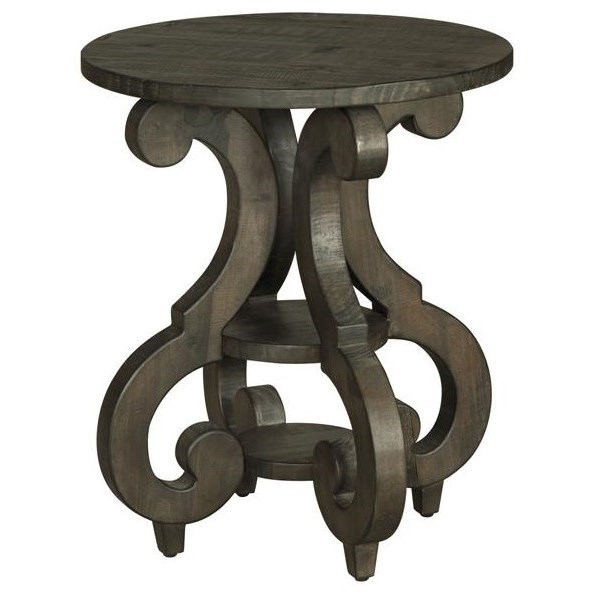 Round Accent End Table with Shelves