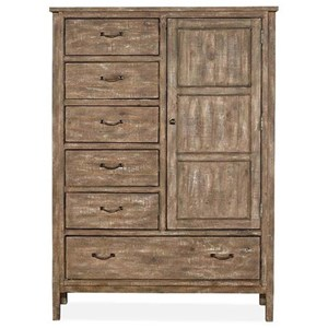 Rustic 6 Drawer Door Chest with Weathered Finish